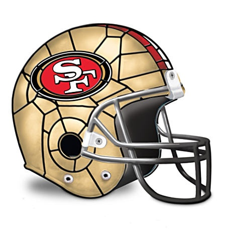 """San Francisco 49ers Lamp  Officially licensed first-of-a-kind San Francisco 49ers accent lamp inspired by the stained-glass artistry of Louis Comfort Tiffany. Limited edition.  Measures 7-1/4"""" W x 11"""" L x 7-1/2"""" H"""