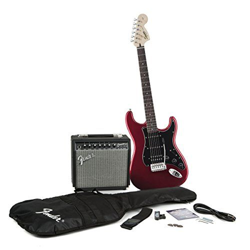Squier by Fender Strat HSS Electric Guitar Pack, Candy Apple Red - http://guitars.nationalsales.com/squier-by-fender-strat-hss-electric-guitar-pack-candy-apple-red/
