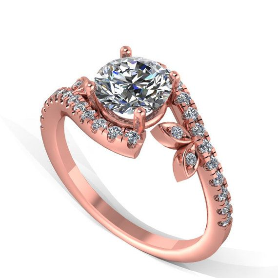 Rose gold  hand made diamond engagement by fabiandiamonds on Etsy, $1360.00