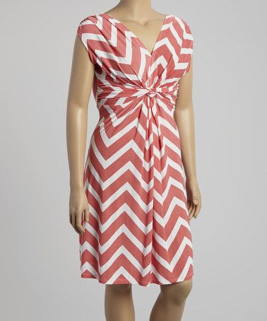 Loving this Coral & White Zigzag Ruched Cap-Sleeve Dress - Plus on #zulily! #zulilyfinds