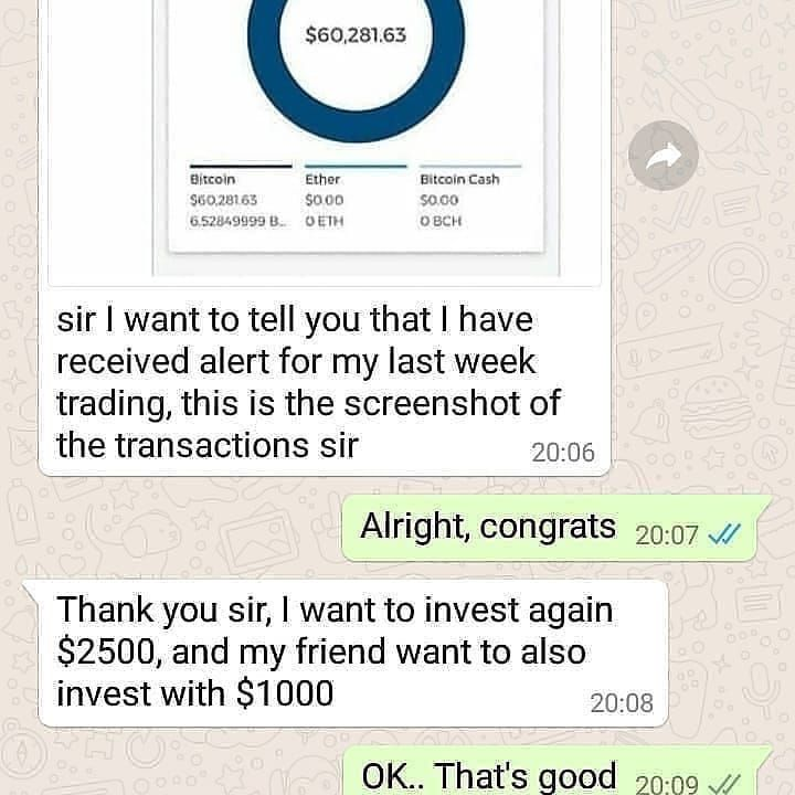 Congratulations To Mr Francis For His Successful Trading Let The Testimony Speak Nbsp Nbsp Bitc Investing Trading Brokers Appreciation Message