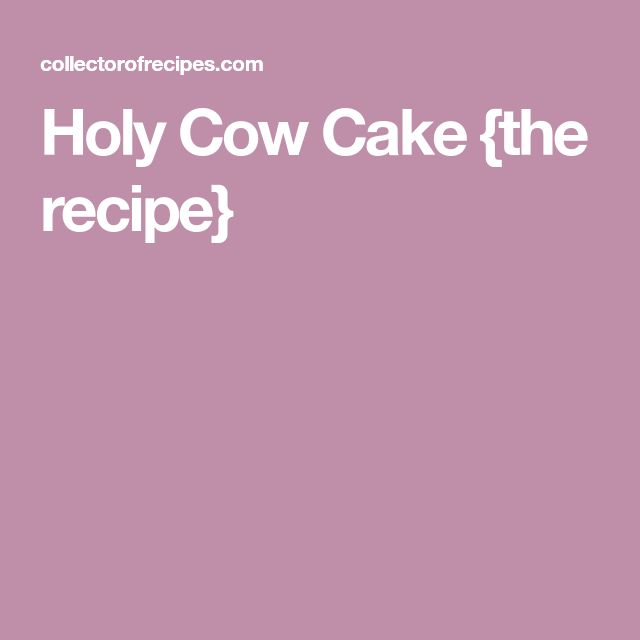 Holy Cow Cake {the recipe}