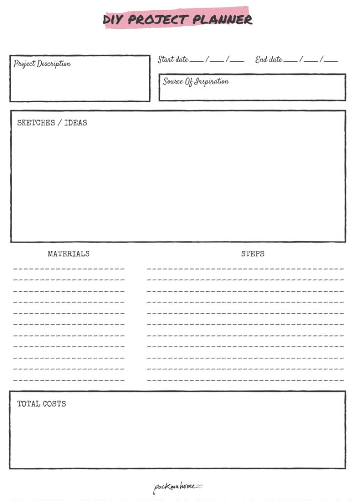 FREE PRINTABLE DIY PROJECT PLANNER - packmahome                                                                                                                                                     More