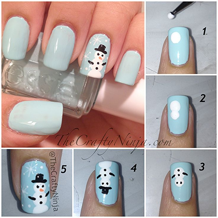 Snowman Nails with picture tutorial. - DIY nail art designs #holidays #xmas #christmas