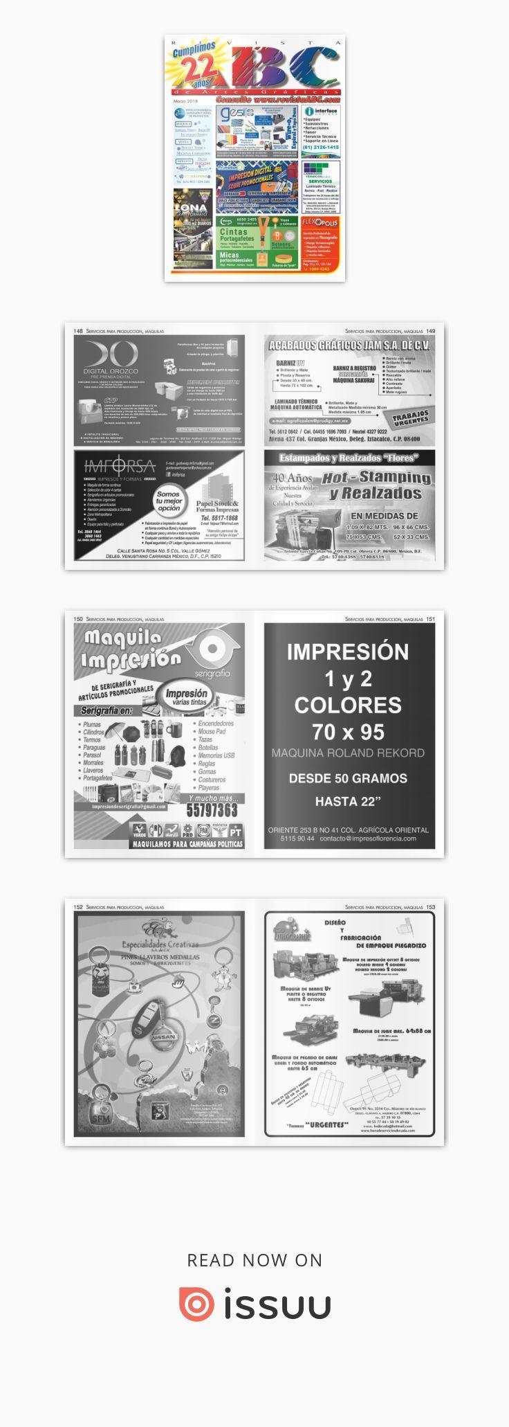 Revista ABC de Artes Gráficas México Marzo 2018  Revista especializada en Artes Gráficas, Publicidad, Offset, Artículos Promocionales, Impresión en Gran Formato, Tintas, Preprensa, Maquinaria para las Artes Gráficas etc.