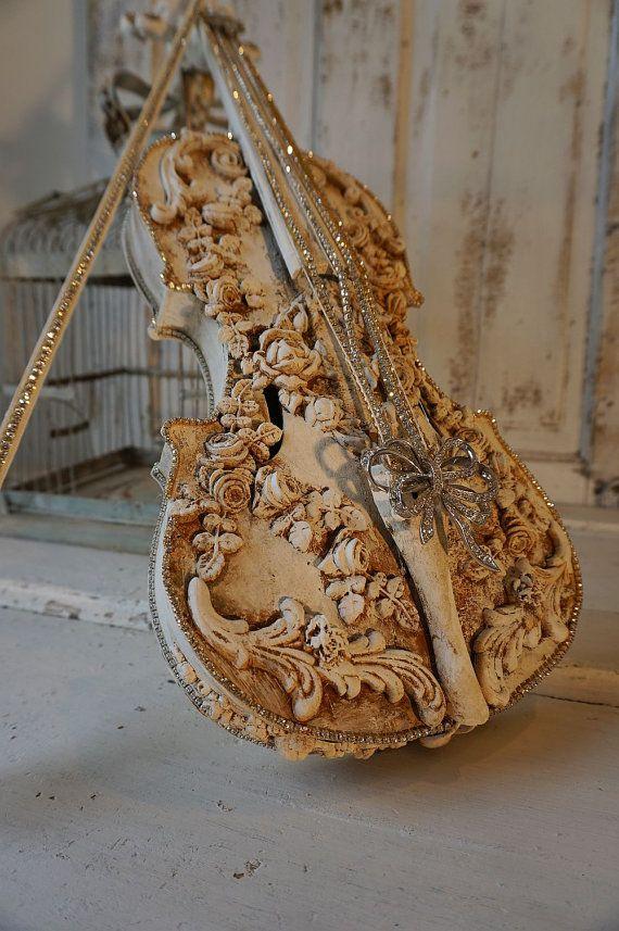 Rose embellished real violin ornate garland by AnitaSperoDesign