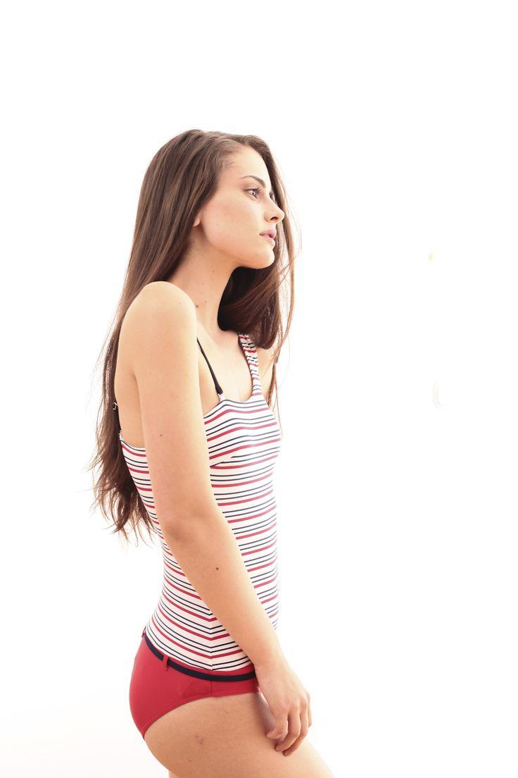 Red-White-blue striped swimwuit @PELSO Swimwear