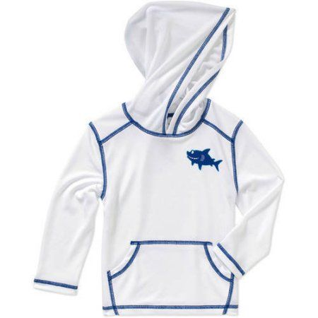 Op Baby Toddler Boy Long Sleeve Hooded Swimwear Cover Up, White