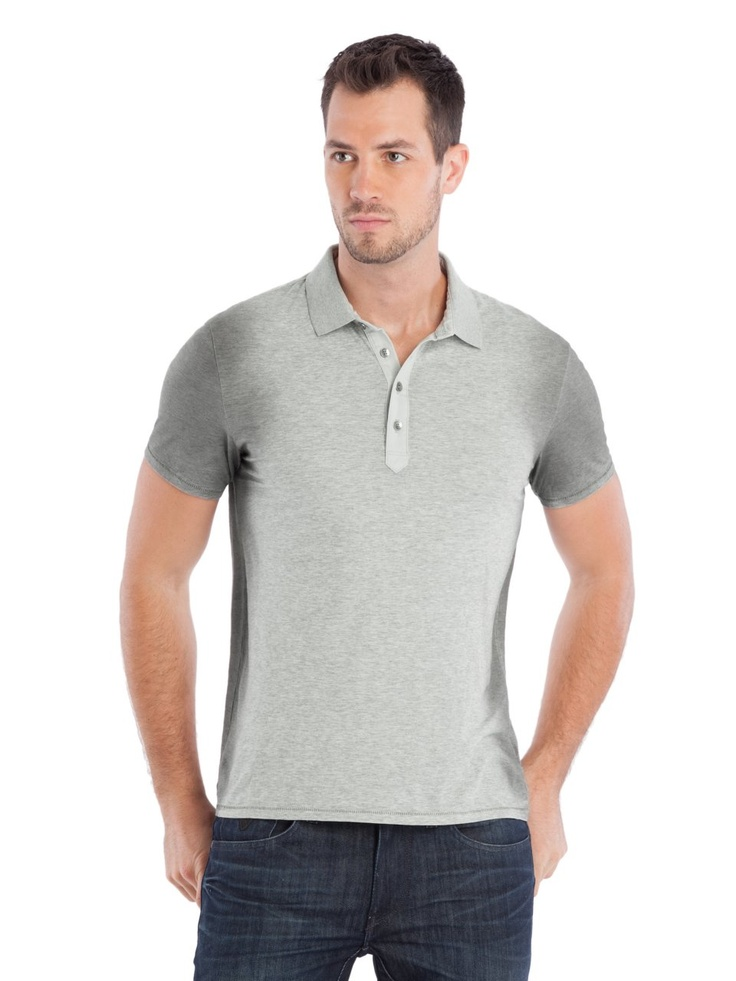 GUESS Raymond Jersey Polo Shirt, LIGHT HEATHER GREY (MEDIUM)