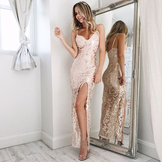 WEBSTA @ showpo - ✨ So sparkly ✨ The perfect event dress! Our 'Be My Lover dress in rose gold sequins' Shop now via the link in our bio #showpo
