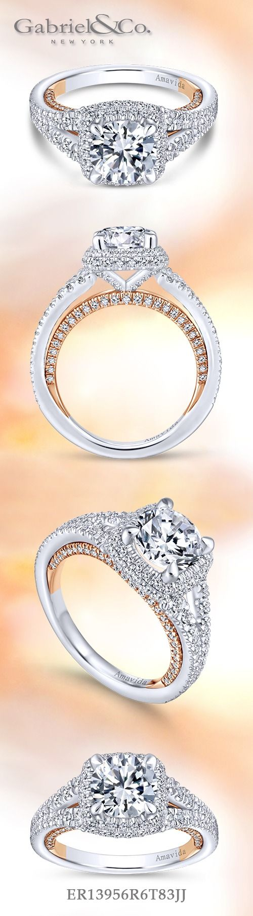 Gabriel & Co.-Voted #1 Most Preferred Fine Jewelry and Bridal Brand. 18k White Gold / Rose Gold Round Halo Engagement Ring