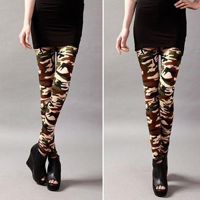 Hot Vogue Women Lady Girl Slim Camo Stretch Pants Leggings Trousers