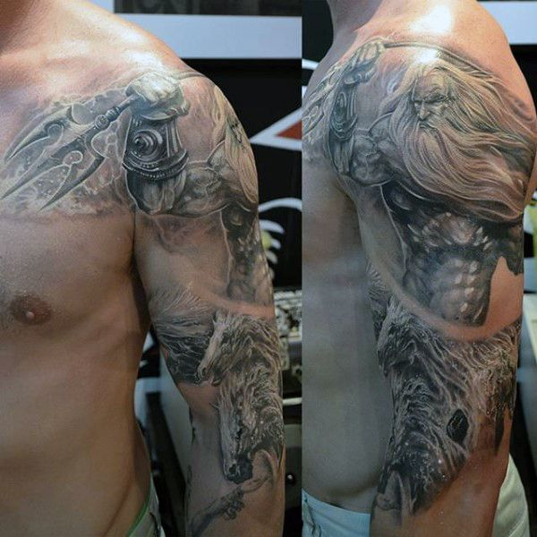Half Sleeve Man With Tattoo Of Poseidon Weapon                              …