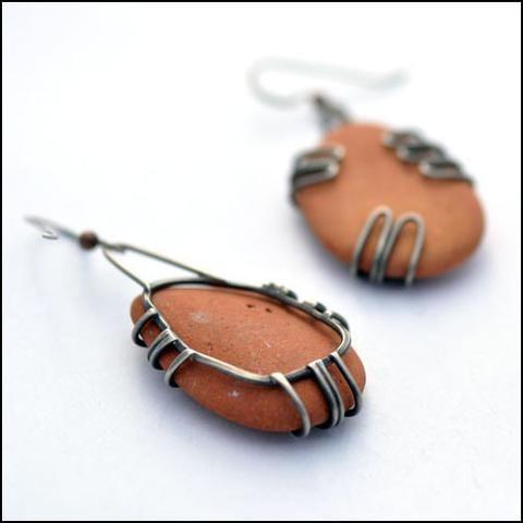 Terra Cotta Beach Pottery Earrings Large