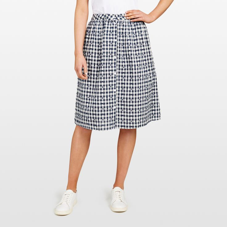 New Arrivals   Button Through Gingham Midi Skirt. #frenchconnectionau #fcuk