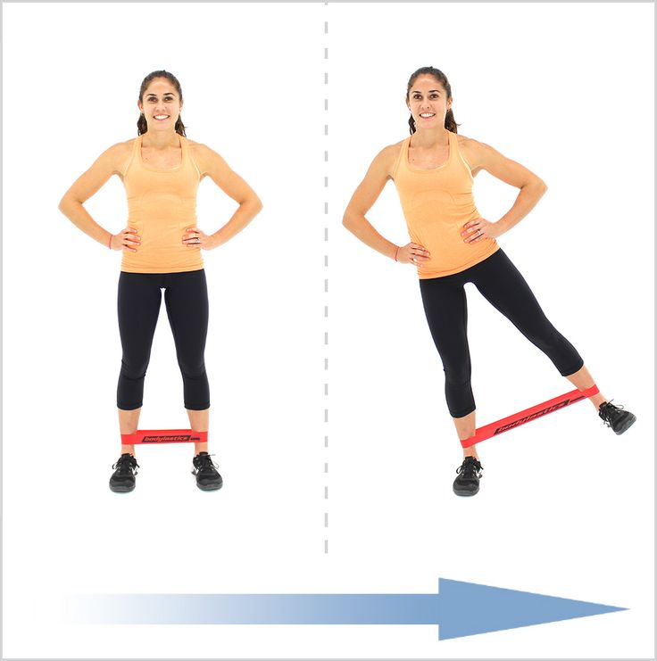 Exercise Bands Hips: Standing Leg Abduction With Loop Resistance Bands
