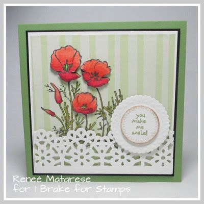 Renlymat's World: POPPIES from I Brake for Stamps.  Handmade card.