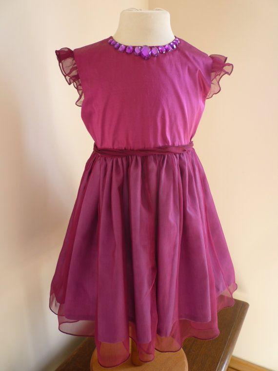 Amethyst Silk Bridesmaids Dress  Girls Dress  by AnnaandAlex, £148.00