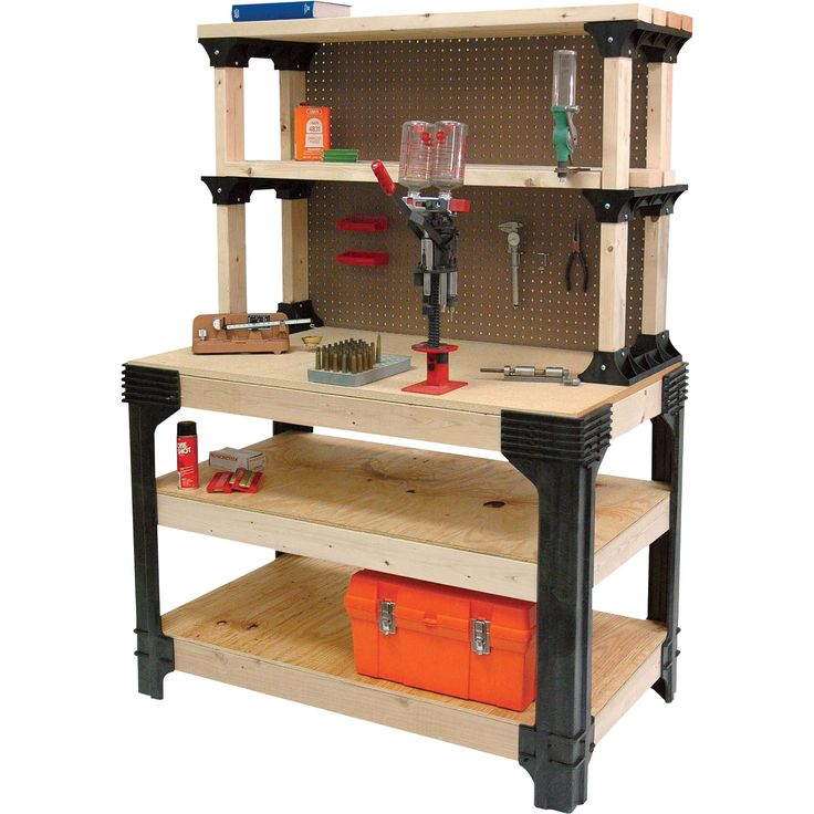 2x4 basics anysize workbench kit with shelflinks u2014 model 90164mi - Gladiator Shelving
