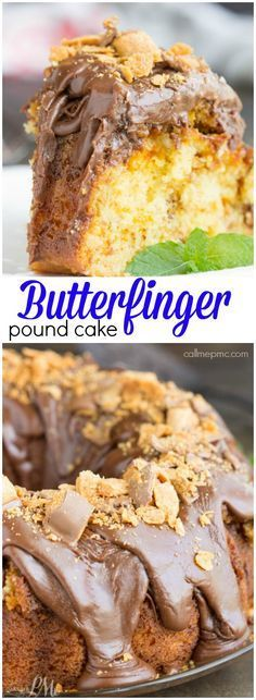 Cake Mix Butterfinger Pound Cake with Chocolate Ganache recipe. A rich butter cake is absolutely filled with crushed Butterfinger candy bars then topped with chocolate ganache and more candy bars.
