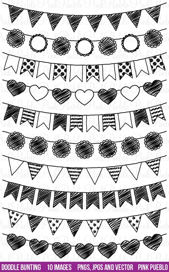 Doodle Bunting Clipart and Vectors