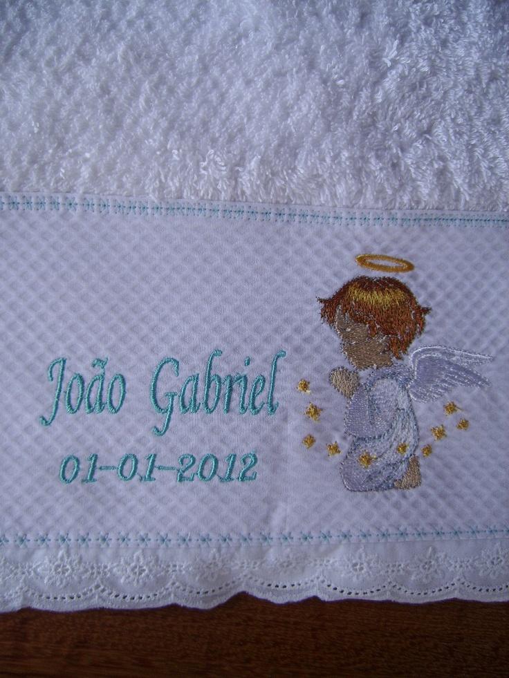 Toalha batizado - Jeito Mineiro Bordados