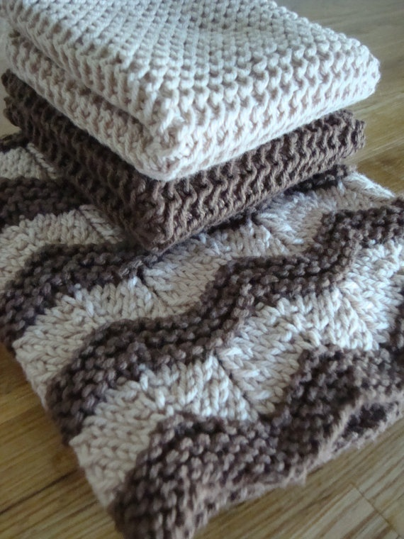 Knitted Cotton Dish Towel Pattern : Dish Cloth & Towel Set Hand Knit 100% Cotton Trio by HippySticks, USD25.00 ...