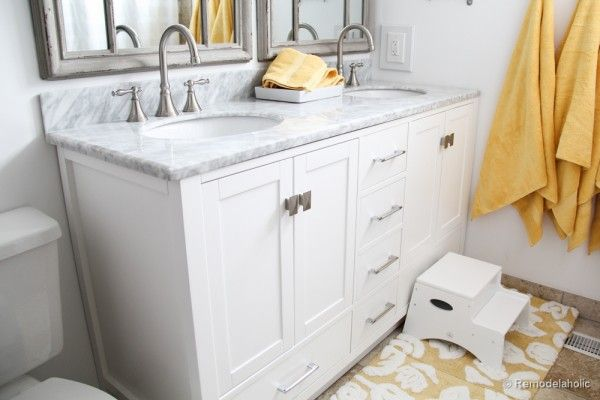 Remodelaholic | Updated Bathroom; Single Sink Vanity to Double Sink vanities at Home Depot, lots of good storage, various sizes!