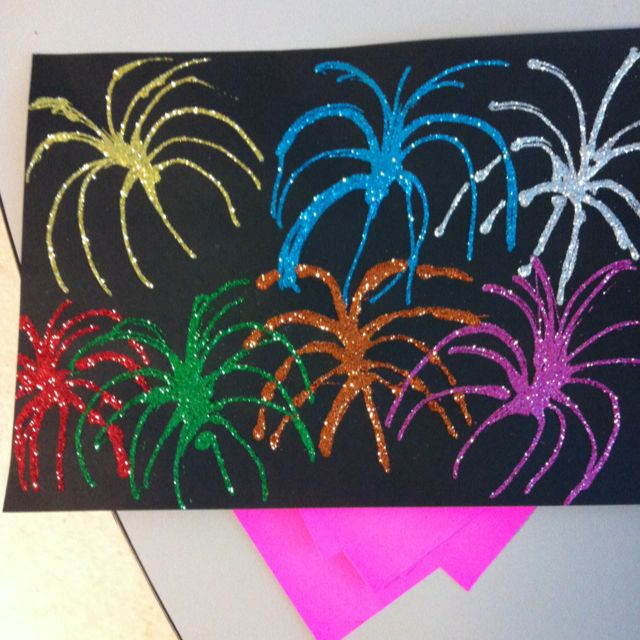 Firework craft using black construction paper elmer 39 s for Arts and crafts glitter
