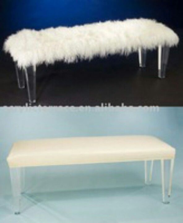fur covered white acrylic piano bench white
