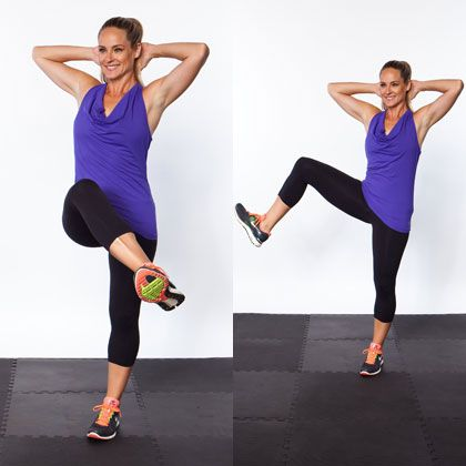 Side Lunge Sweep - Top 10 NEW Exercises for Thinner Thighs - Shape Magazine - Page 3