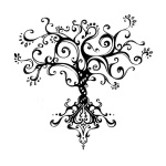 tree tat  But alter roots with rolling swirls n truck with braid