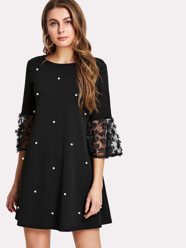 9f8c751c3 Catálogo Shein Primavera Verano 2018 vestido corto negro con puntos blancos