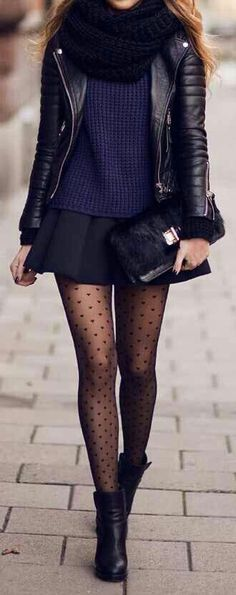 #winter #outfit / Purple Top - Black Skirt