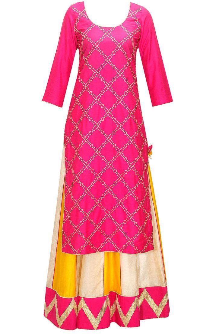 Deep pink and yellow gota work lehenga set by The Silk Tree. Shop now: www.perniaspopups.... #lehenga #blouse #designer #thesilktree #pretty #clothing #shopnow #perniaspopupshop #happyshopping