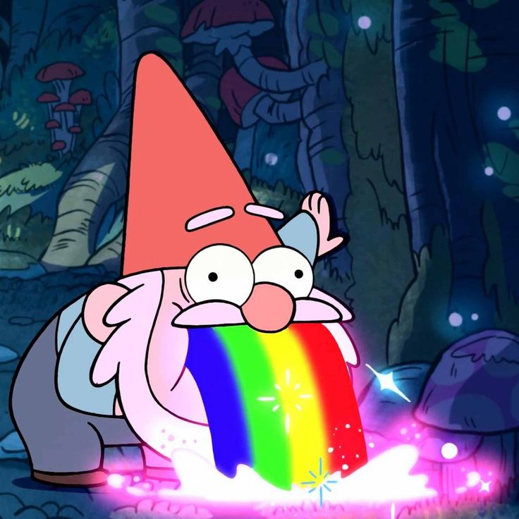 Gnome throwing up a rainbow!
