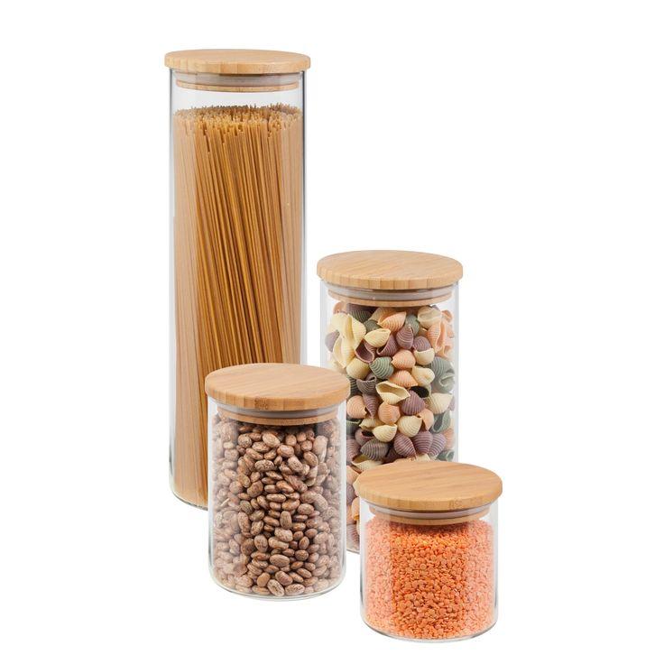Honey-Can-Do 4 Piece Bamboo (Green) Jar Storage Set (Glass)