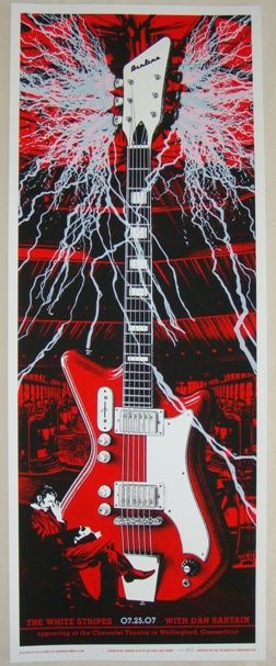 Sweet poster for the 7/25/2007 Wallingford Conn. White Stripes show by Rob Jones. I don't usually buy posters at shows but I'm so so glad I bought this one, had no idea it would be the last time I saw my favourite band :'''(