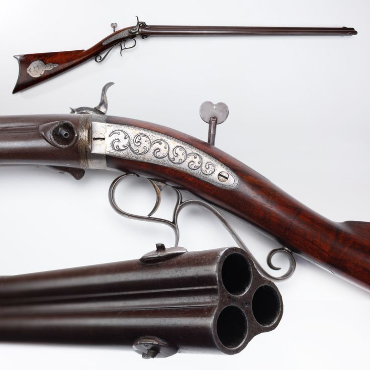 Perry Percussion Rifle - This 3-barreled H.V. Perry percussion rifle was made in Jamestown, NY by a gunsmith who worked well before and after the Civil War crafting target arms. But this .45 caliber gun was used by five generations mostly for hunting and its donation to the NRA Museums was accompanied by a family journal recording the success of each excursion. The story goes that the user of this rifle never failed to bring home game for the pot. NRA National Firearms Museum in Fairfax, VA