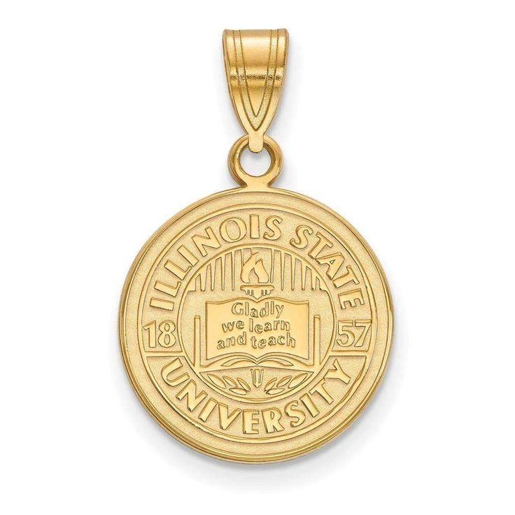 Sterling Silver w/GP LogoArt Illinois State University Medium Crest Pendant