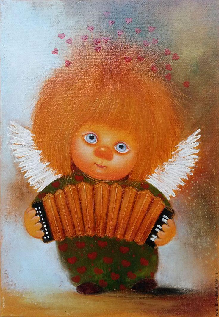 Купить Я играю на гармошке - картина маслом. - ангел, ангелочек, я играю на гармошке, картина маслом
