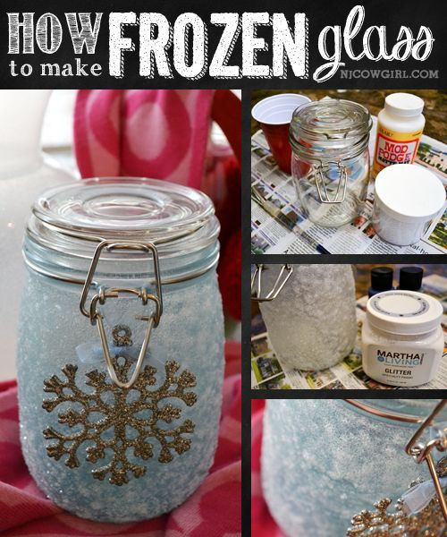 Pinned this from The Jersey Cowgirl: DIY Frozen Glass.  So cool (pun intended)!  And yes, instead of being crafty on my own, I'm lucky enough to have friends who can come up with awesome projects (and blog about them) that I will one day try to wrap my unartistic head around.