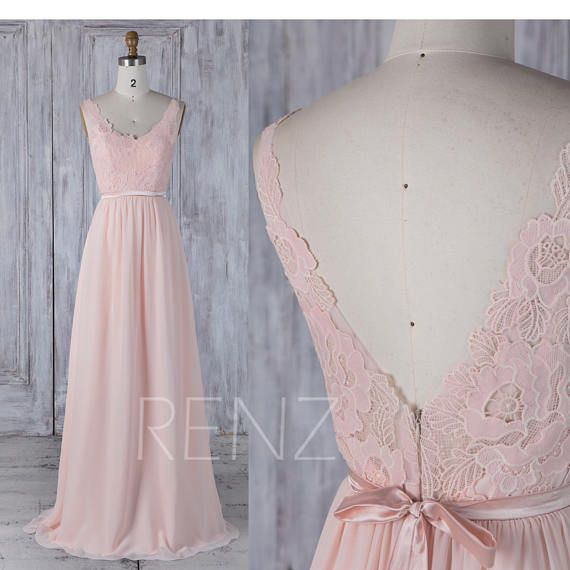 2017 Peach Chiffon Bridesmaid Dress Lace Scoop Neck Wedding