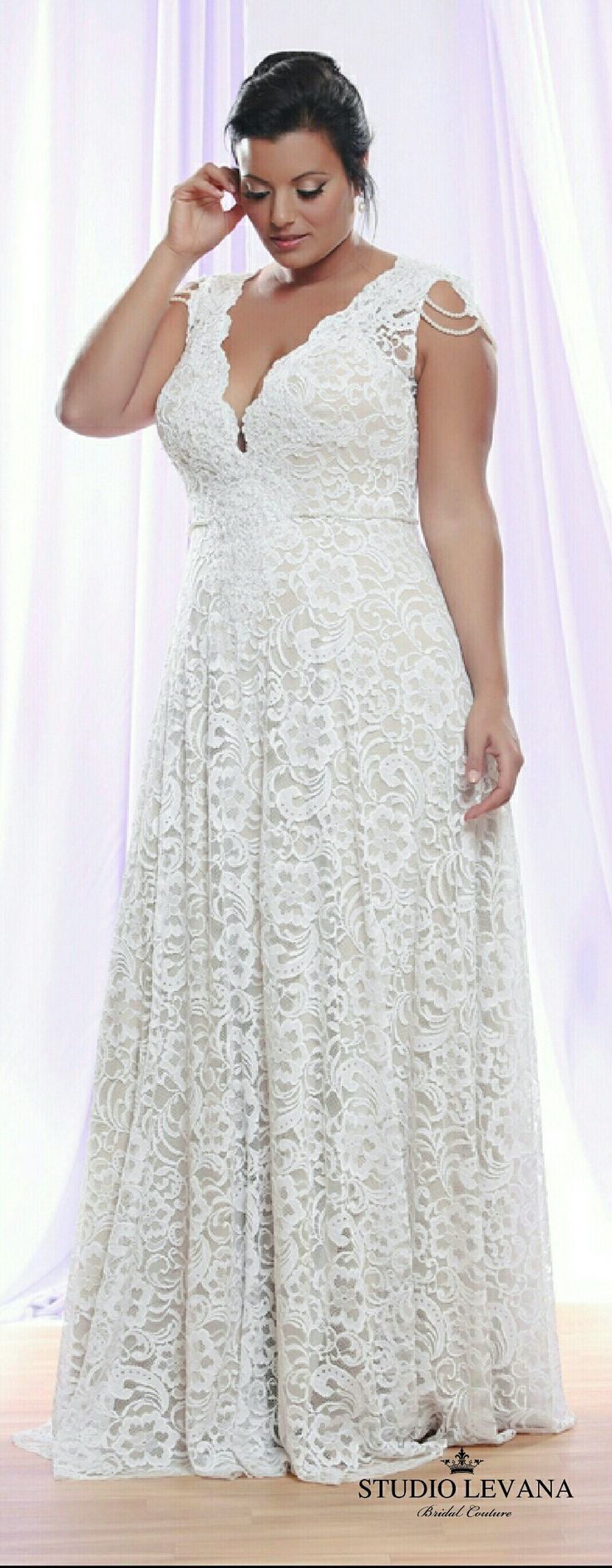 Sleeveles option of Prada plus size lace wedding gown-signature Studio Levana dress