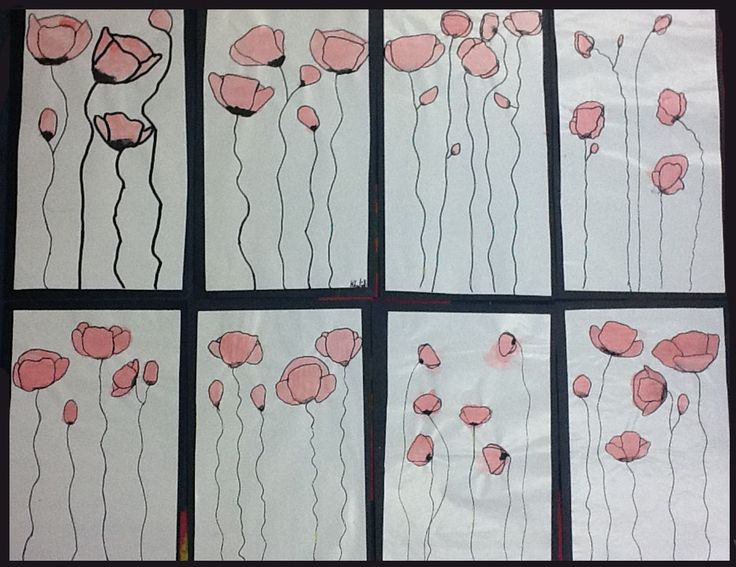 artisan des arts: Droopy poppies for Remembrance Day - grade 4? Needs different background...