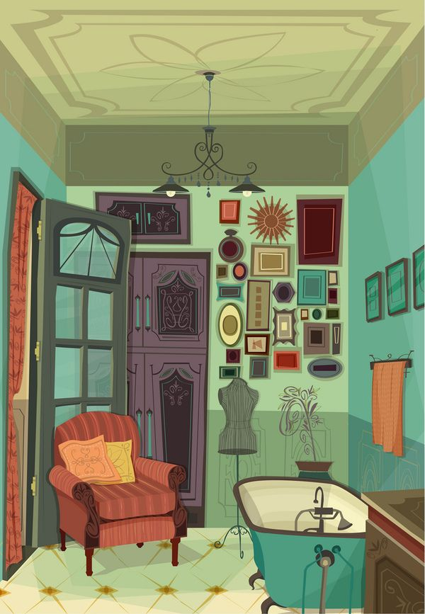 Ilustración vectorial on Behance. I've always wanted to have a chair in my bathroom.