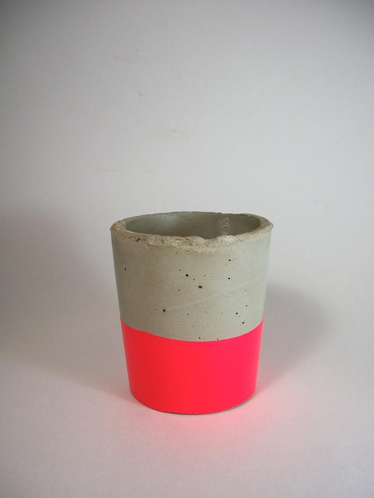 Handmade Modern Neon Pink Concrete Planter/ Container. $19.50, via Etsy.