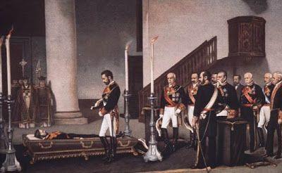 """""""Amadeo I ante el cadáver del general Prim"""" (Gisbert)"""