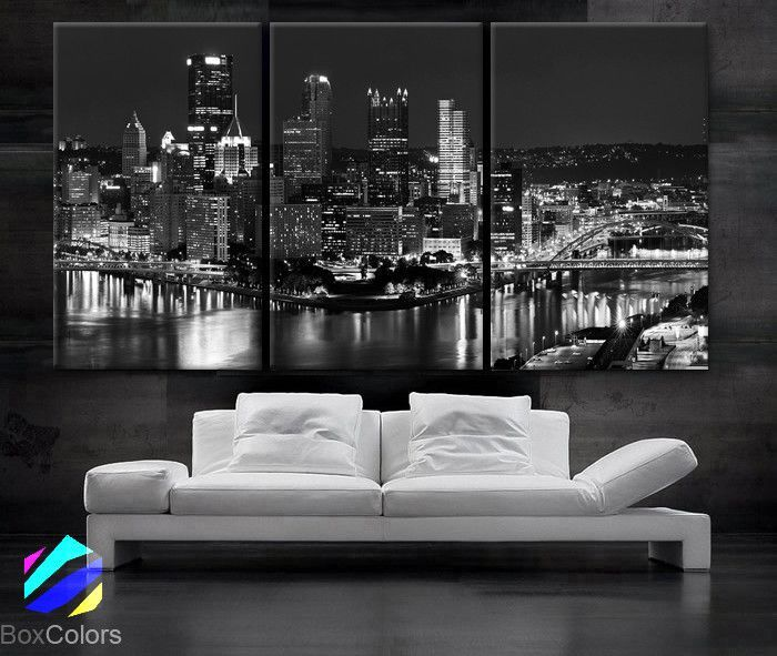 "LARGE 30""x 60"" 3 Panels Art Canvas Print beautiful Pittsburgh downtown city skyline Black & White Wall Home (Included framed 1.5"" depth)"