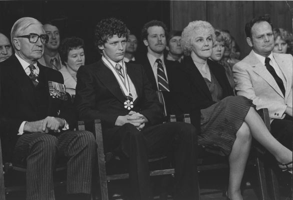 Terry Fox receives the Order of Canada in 1980. Also pictured are his parents, Betty Fox and Rolly Fox.